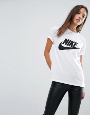 Nike Футболка с большим логотипом Signal. Цвет: белый