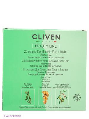 Депиляционные полоски для лица и бикини CLIVEN. Цвет: зеленый