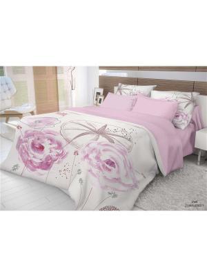 Комплект постельного белья 1,5-сп, ВОЛШЕБНАЯ НОЧЬ, ранфорс 70*70см, стиль-Этно, Shell ночь. Цвет: бледно-розовый, белый