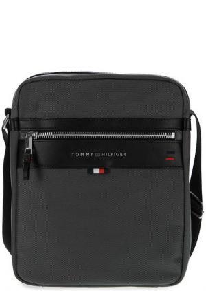 Серая текстильная сумка через плечо Tommy Hilfiger. Цвет: серый
