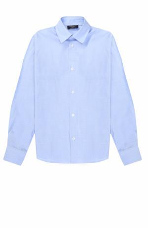 Хлопковая рубашка прямого кроя Dal Lago. Цвет: голубой