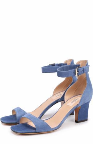 Замшевые босоножки Plum на устойчивом каблуке Valentino. Цвет: синий