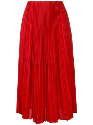 Плиссированная юбка длины миди Astraet. Цвет: красный