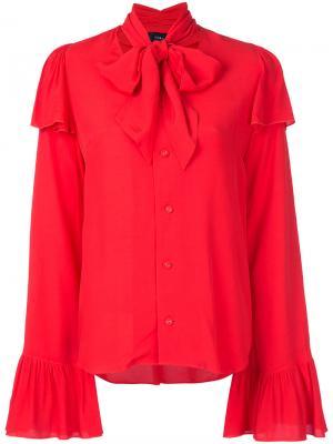 Rayon crepe pussy bow blouse G.V.G.V.. Цвет: красный