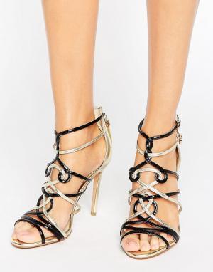 Forever Unique Босоножки на каблуке с контрастными вставками Trina. Цвет: черный