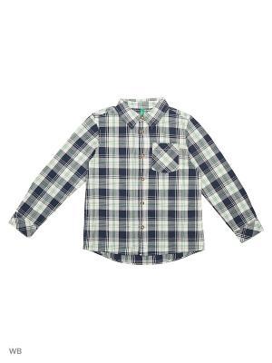 Рубашка United Colors of Benetton. Цвет: белый, синий