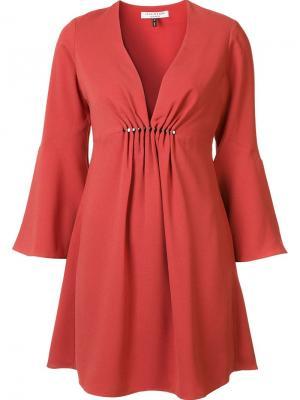 Платье c V-образным вырезом Halston Heritage. Цвет: красный