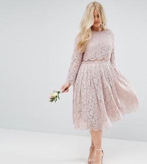 ASOS Curve Кружевное платье миди для выпускного с длинными рукавами WE. Цвет: розовый