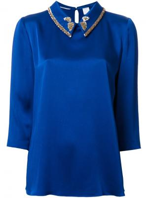 Декорированная блузка Ingie Paris. Цвет: синий