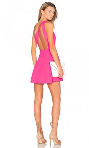 Платье с одним плечом zip me up NBD. Цвет: фуксия