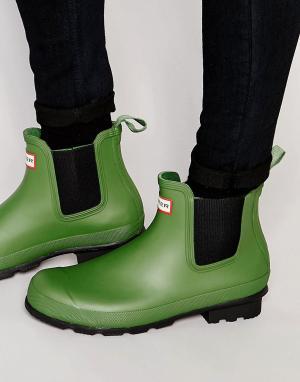 Hunter Резиновые сапоги Original Chelsea. Цвет: зеленый