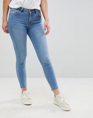 Only Зауженные джинсы пуш-ап. Цвет: синий