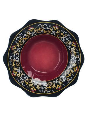 Салатник Восточный мотив 26 см Elff Ceramics. Цвет: красный, желтый, черный