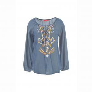 Блузка из денима - RENE DERHY. Цвет: синий