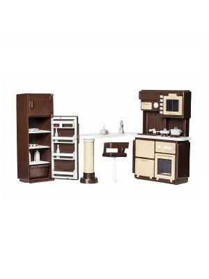 Набор мебели для кухни Коллекция Огонек. Цвет: коричневый, белый
