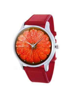 Дизайнерские часы Грейпфрут Tina Bolotina. Цвет: красный