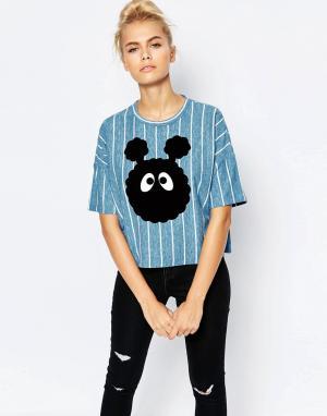 Mini Cream Укороченная футболка с забавной мордочкой. Цвет: синий