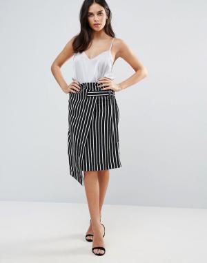 Liquorish Черно-белая юбка в полоску с запахом. Цвет: мульти