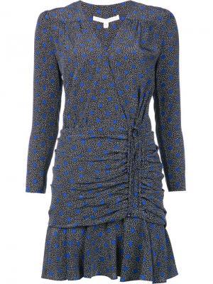 Мини платье со сборками Veronica Beard. Цвет: синий