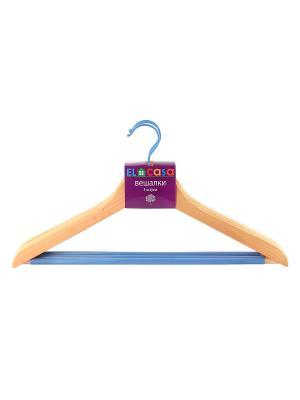 Набор вешалок из 3 штук Дуб EL CASA. Цвет: бежевый, голубой