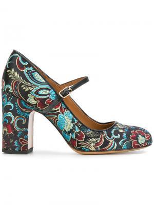 Туфли с цветочным принтом Chie Mihara. Цвет: чёрный