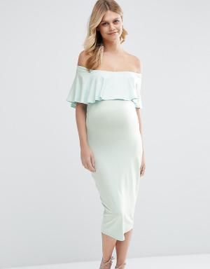 ASOS Maternity Платье-футляр миди с вырезом лодочкой и оборкой. Цвет: синий