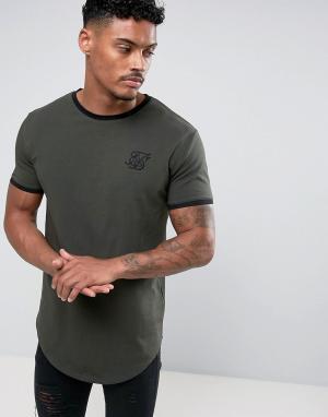 SikSilk Обтягивающая футболка цвета хаки. Цвет: зеленый