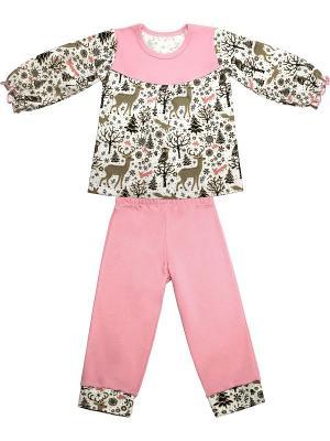 Пижама Nice cat. Цвет: темно-коричневый, светло-коричневый, розовый