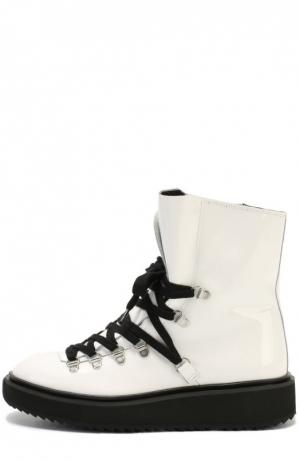 Лаковые ботинки на контрастной подошве Kenzo. Цвет: белый