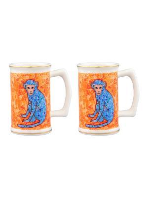 Набор из двух вазочек под зубочистки Обезьянки на удачу оранжевом Elan Gallery. Цвет: оранжевый, голубой