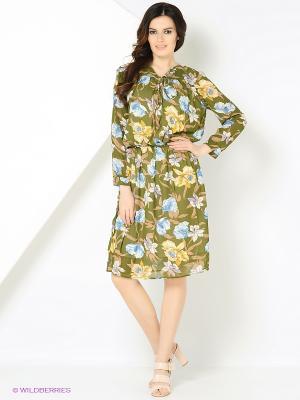 Платье Monoroom с цветами зеленое