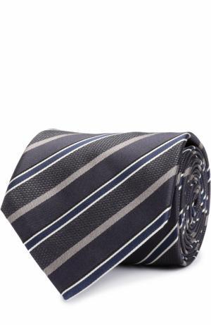 Шелковый галстук в полоску Brioni. Цвет: темно-серый