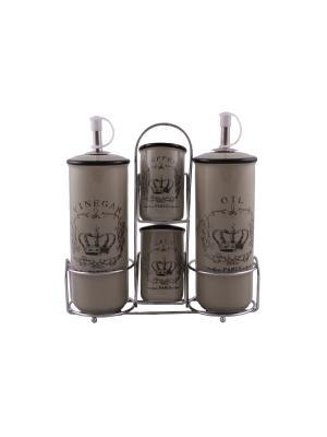 Набор для специй 4 предмета на металлической подставке PATRICIA. Цвет: белый