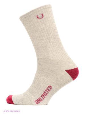 Носки спортивные 3 пары Unlimited. Цвет: темно-красный, серый меланж