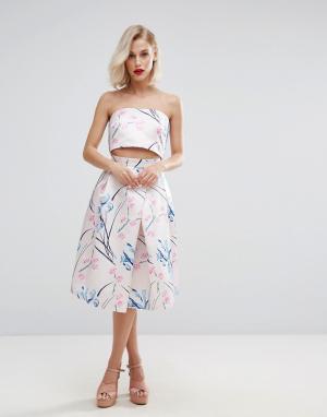 Horrockses Атласная юбка миди с цветочным принтом Co Ord. Цвет: мульти