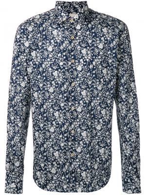 Рубашка с цветочным принтом Xacus. Цвет: синий