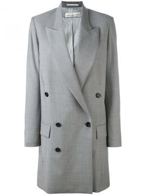 Удлиненное двубортное пальто Golden Goose Deluxe Brand. Цвет: серый