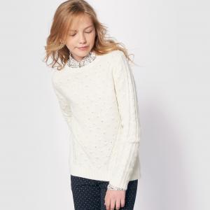Пуловер из плетеного трикотажа на 10-16 лет La Redoute Collections. Цвет: розовый,экрю