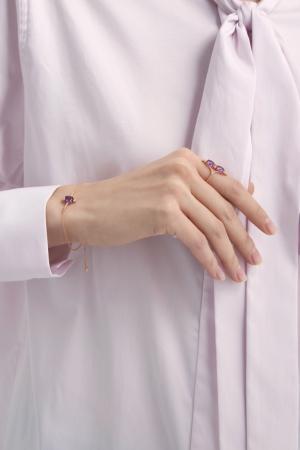 Позолоченный браслет с аметистом Moonka Studio. Цвет: золотой, фиолетовый