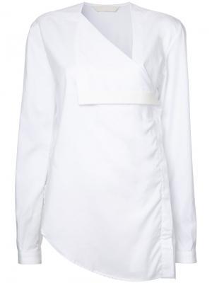 Рубашка с запахом Dion Lee. Цвет: белый