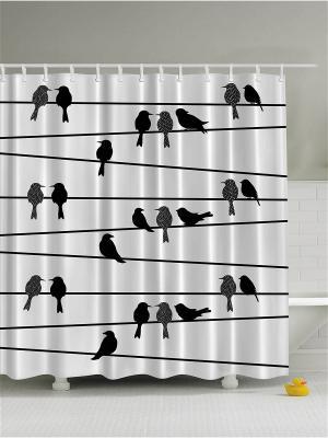 Фотоштора для ванной Птички на проводах, 180*200 см Magic Lady. Цвет: белый, черный