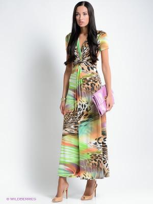 Платье МадаМ Т. Цвет: коричневый, оранжевый, белый, зеленый
