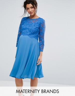 Queen Bee Свободное платье миди с кружевной накладкой и рукавами 3/4. Цвет: синий
