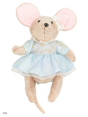 Мышка шарнирная Вaby mouse Капелька  в платье Fluffy Family. Цвет: розовый, серый, голубой