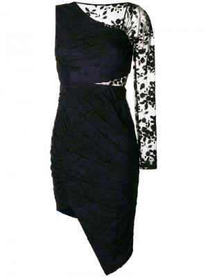 Платье асимметричного кроя с одним рукавом Three Floor. Цвет: чёрный