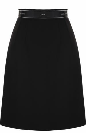 Шерстяная мини-юбка А-силуэта Dolce & Gabbana. Цвет: черный