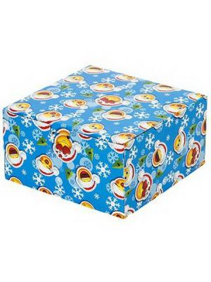 Коробка подарочная складная, бумага, 16х16х8,5см, 6 штук СНОУБУМ. Цвет: синий