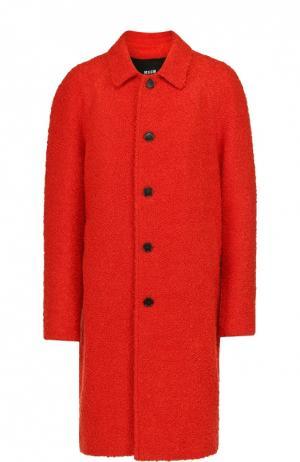 Однобортное пальто с добавлением шерсти MSGM. Цвет: красный