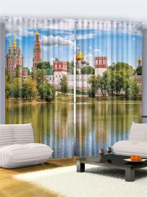 Комплект фотоштор Собор над рекой, ночной мегаполис, розовые облака Копенгагеном, 290*265 см Magic Lady. Цвет: красный, желтый, белый, зеленый, голубой