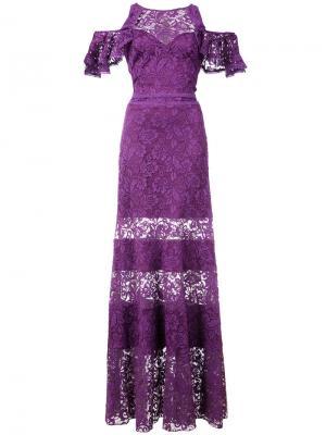 Кружевное платье с вырезными деталями на плечах Tadashi Shoji. Цвет: розовый и фиолетовый